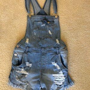 Blue jean short overalls